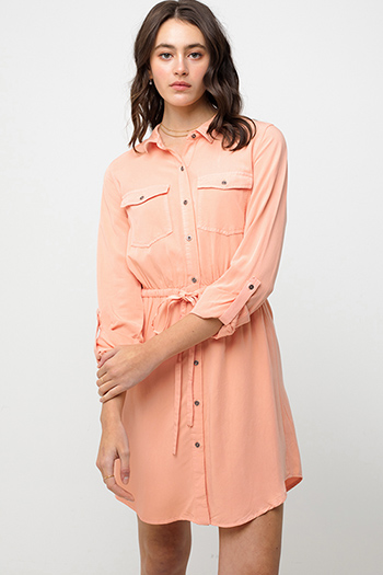 $34 - Cute cheap v neck sun dress - Coral peach long sleeve tie waist button up boho mini shirt dress