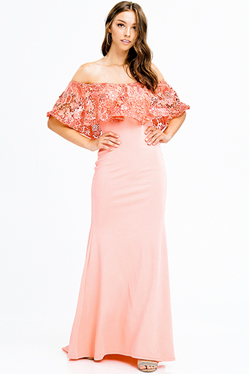 $40 - Cute cheap open back cocktail dress - coral peach sequined crochet lace tiered off shoulder formal trumpet evening gown sexy party dress