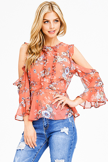$15 - Cute cheap see through top - coral pink chiffon floral print cold shoulder long bell sleeve boho blouse top