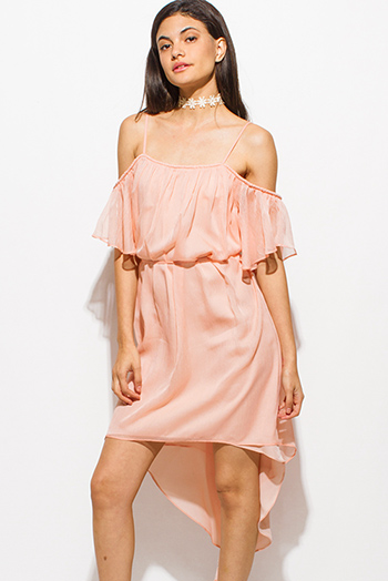 $20 - Cute cheap satin sexy party midi dress - coral pink cold shoulder ruffle tie waist boho high low party sun dress