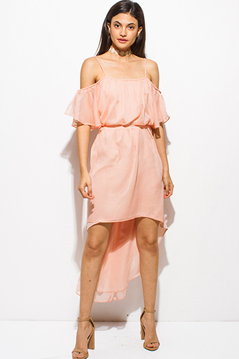$20 - Cute cheap mesh mini dress - coral pink cold shoulder ruffle tie waist boho high low sexy party sun dress