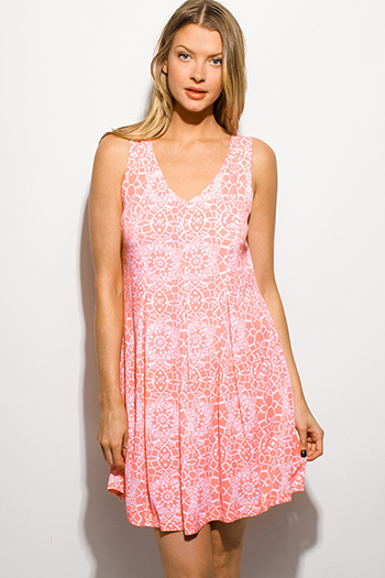 $15 - Cute cheap gauze boho sun dress - coral pink ethnic print sleeveless pleated boho swing mini sun dress