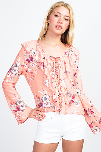 $11 - Cute cheap print sheer sexy party blouse - Coral pink floral print ruffled laceup front long bell sleeve boho blouse top