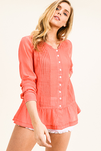 $13 - Cute cheap teal blue acid washed long bell sleeve crochet trim button up boho tunic mini shirt dress - Coral pink long sleeve ruffle hem button up resort boho blouse top