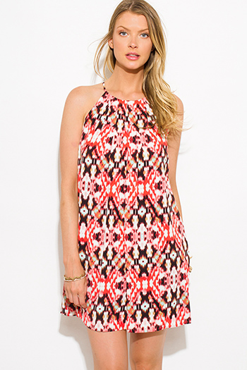 $15 - Cute cheap pink boho sexy party romper - coral pink multicolor ikat ethnic print halter cocktail party shift mini dress