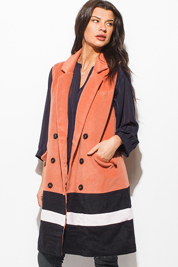 $12 - Cute cheap mocha brown black color block zip up faux fur banded fitted sexy clubbing vest top - coral pink black color block buttoned pocketed duster coat vest