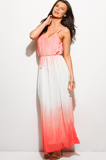 $20 - Cute cheap lace ruffle sun dress - coral pink ombre tie dye print chiffon boho tie waist summer evening sexy party maxi sun dress