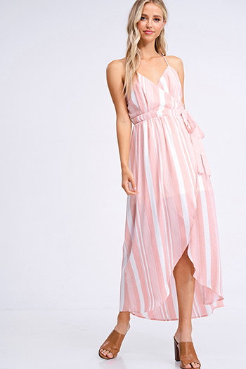 $20 - Cute cheap light pink satin floral off shoulder ruffle tiered boho mini sun dress - Coral pink striped sleeveless backless boho sexy party wrap maxi sun dress