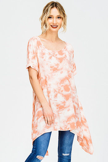 $15 - Cute cheap orange watercolor floral print flutter sleeve boho peasant blouse top - coral pink tie dye cuffed short sleeve asymmetrical hem tunic boho mini sun dress