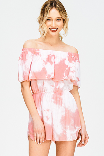 $15 - Cute cheap vintage print criss cross harem jumpsuit - coral pink tie dye tiered off shoulder boho romper playsuit jumpsuit