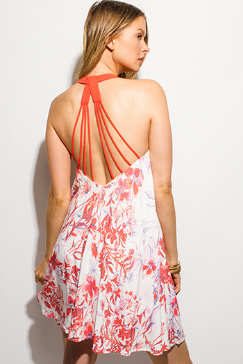 $15 - Cute cheap red one shoulder dress - coral red floral print chiffon halter caged backless boho swing mini sun dress