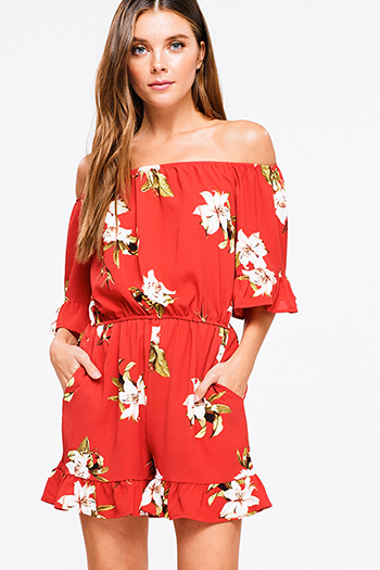 $20 - Cute cheap red mesh sexy party catsuit - Coral red floral print off shoulder short sleeve pocketed boho party romper jumpsuit