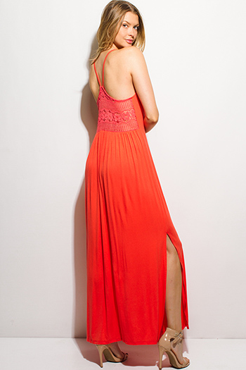 $15 - Cute cheap bejeweled evening sun dress - coral red halter open racer back sheer lace contrast double side slit boho maxi sun dress