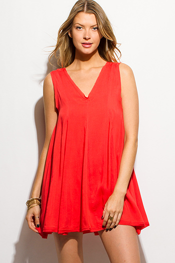 $15 - Cute cheap gauze v neck romper - coral red sleeveless v neck keyhole back resort boho tunic swing mini sun dress