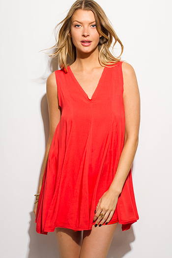$15 - Cute cheap gauze boho sun dress - coral red sleeveless v neck keyhole back resort boho tunic swing mini sun dress