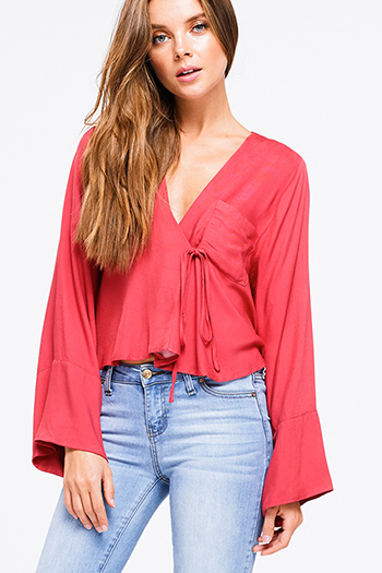 $10 - Cute cheap black floral print cut out mock v neck long trumpet bell sleeve boho blouse top - Coral red v neck long kimono sleeve tie front boho crop blouse top