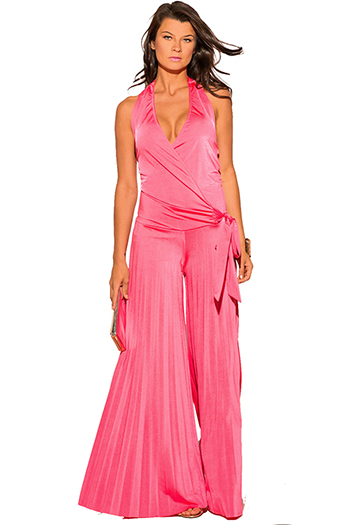 $20 - Cute cheap pink chiffon jumpsuit - coral pink wrap halter backless pleated wide leg evening sexy party jumpsuit