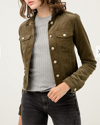$27.50 - Cute cheap non stretch shearling collar denim jacket 100cotton - corduroy button up jacket