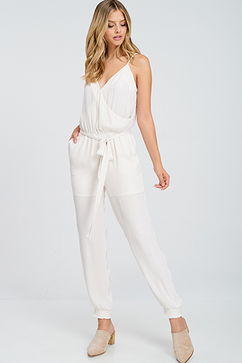 $20 - Cute cheap red stripe sleeveless sailor tie front pocketed wide leg boho jumpsuit - Cream beige crinkle satin sleeveless surplice belted pocketed harem evening jumpsuit