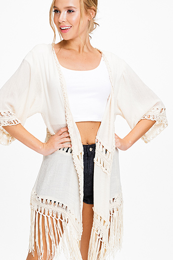 $15 - Cute cheap light blue stripe off shoulder tie sleeve crochet lace hem boho romper playsuit jumpsuit - Cream beige crochet trim tassel fringe hem embroidered boho kimono cardigan