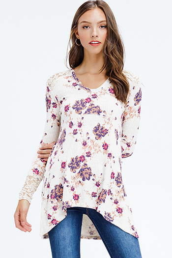 $12 - Cute cheap black floral print ruffle off shoulder pocketed boho wide leg jumpsuit - cream beige floral print long sleeve sheer lace panel thermal knit boho tunic top