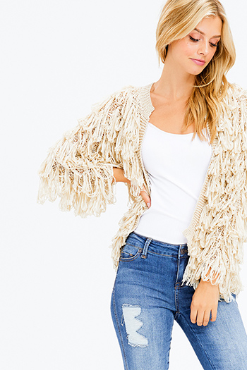 $25 - Cute cheap stone gray fuzzy knit quarter tiered bell sleeve round neck boho top - cream beige fringe long sleeve open front boho knit cardigan