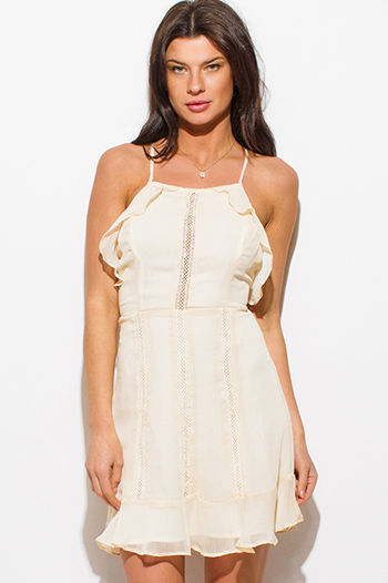 $15 - Cute cheap beige linen blend green floral print embroidered halter resort boho shift mini dress - cream beige halter sleeveless ruffle crochet lace trim criss cross backless cocktail boho mini sun dress