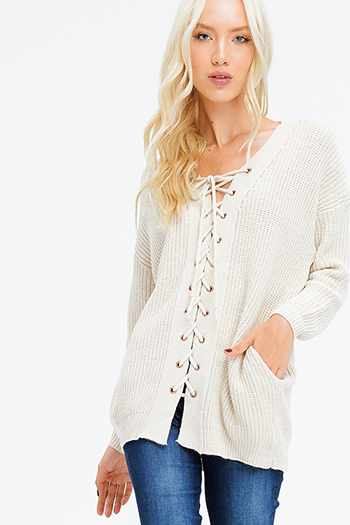 $25 - Cute cheap high neck top - cream beige knit long sleeve laceup front v neck pocketed boho sweater top