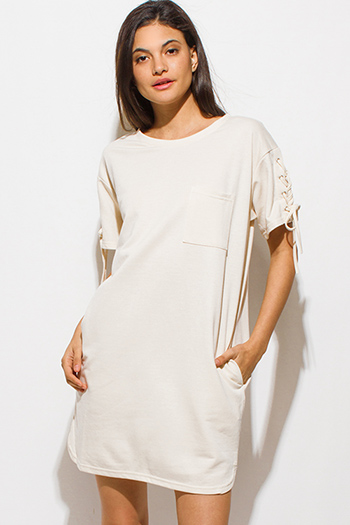 $15 - Cute cheap backless cocktail maxi dress - cream beige laceup short sleeve tee shirt pocketed mini dress