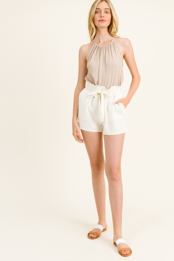 $15 - Cute cheap mocha brown drawstring tie front backless pocketed crop capri cargo overalls - Cream beige linen tie high waisted pocketed resort boho paperbag summer shorts