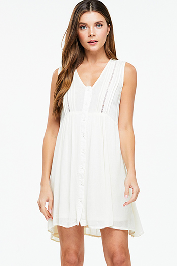 $15 - Cute cheap ivory white lemon print faux wrap ruffle trim laceup cut out back boho skater mini sun dress - Cream beige sleeveless empire waist button up boho swing mini dress