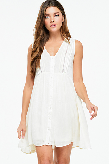 $10 - Cute cheap boho belted mini dress - Cream beige sleeveless empire waist button up boho swing mini dress