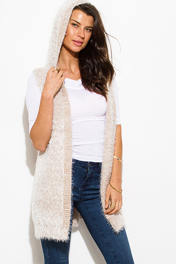 $15 - Cute cheap top - cream beige textured open front hooded fuzzy sweater knit cardigan vest top