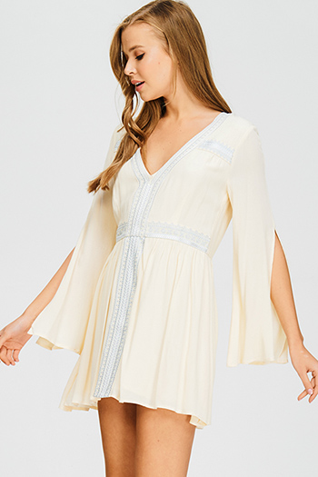 $15 - Cute cheap white navy blue floral print laceup quarter sleeve boho shift mini shirt dress - cream beige v neck empire waist embroidered slit long angel sleeve boho mini dress