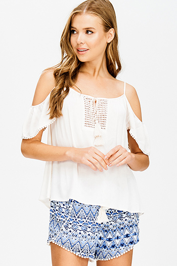 $15 - Cute cheap blue stripe embroidered quarter sleeve button up boho blouse pinstripe top - cream taupe beige cold shoulder crochet tassel tie boho blouse top