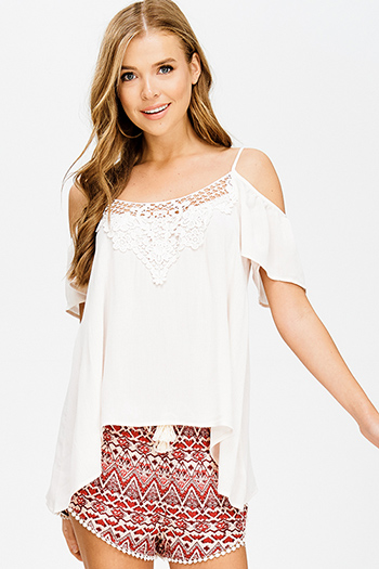 $15 - Cute cheap blue pinstripe rose patch ruffle tiered strapless boho tunic top - cream taupe beige crochet applique cold shoulder short sleeve boho sexy party blouse top