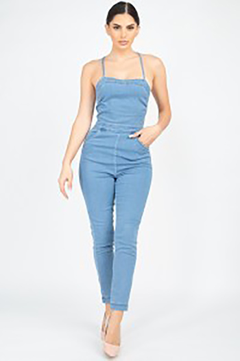 $22.50 - Cute cheap blue washed denim mid rise distressed destroyed chewed hem ankle fit skinny jeans - crisscross square neck denim jumpsuit