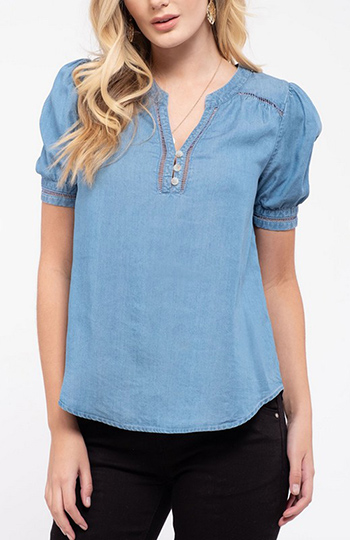 $21.50 - Cute cheap crochet blouse - crochet trim chambray top