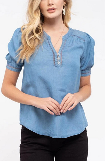 $16.50 - Cute cheap crochet trim chambray top