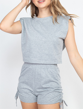 $16.75 - Cute cheap square necksolid puff top - crop top & ruched drawstring sides matching set