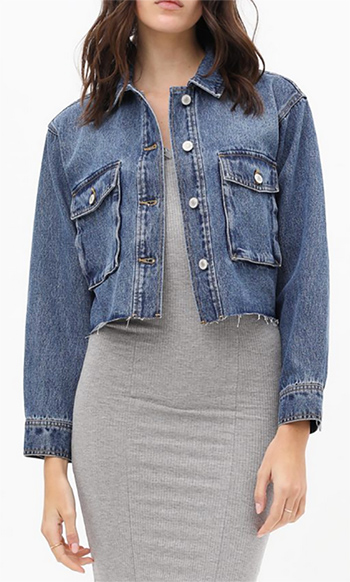 $25.50 - Cute cheap non stretch shearling collar denim jacket 100cotton - cropped cargo pocket denim jacket