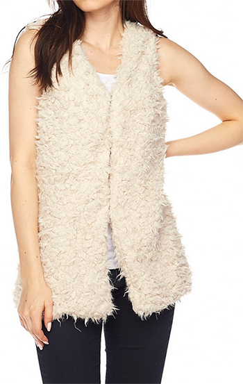 $24 - Cute cheap interview outfits - cute faux fur solid cardigan vest.
