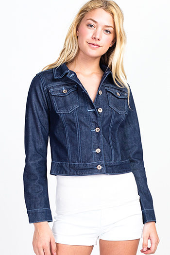 $15 - Cute cheap navy blue long sleeve exposed stitch pocketed open front sweater cardigan - Dark blue denim long sleeve fleece lined button up cropped jean jacket