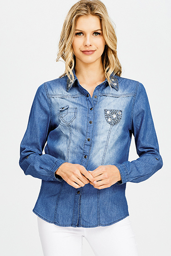 $12 - Cute cheap blue washed denim mid rise distressed destroyed tiered frayed hem ankle fit skinny jeans - dark blue washed chambray denim rhinestone bejeweled studded long sleeve button up blouse top