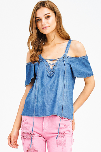 $12 - Cute cheap floral ruffle boho top - dark blue washed chambray laceup v neck cold shoulder boho denim top