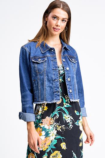 $25 - Cute cheap urban - Dark blue washed denim button up pocketed frayed hem cropped jean jacket