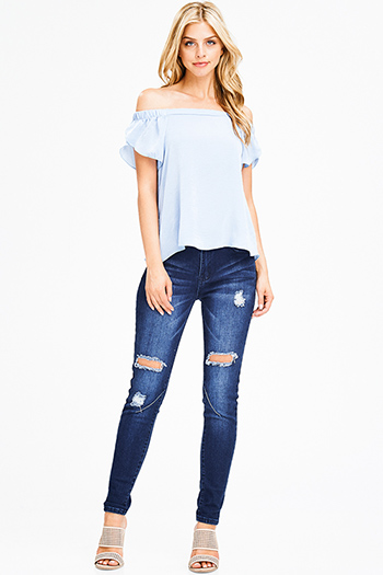 $20 - Cute cheap light blue semi sheer stripe mesh fitted zip up jacket top - dark blue washed denim distressed mid rise fitted skinny jeans