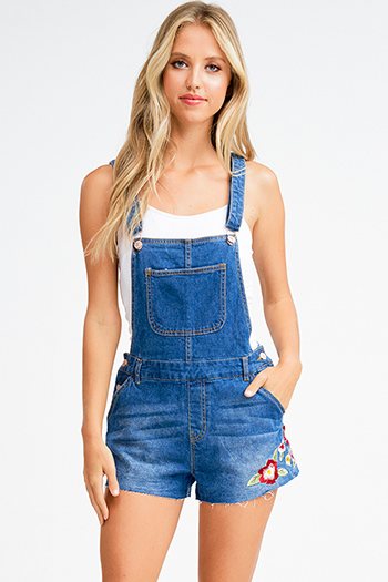 $15 - Cute cheap blue romper - Dark blue washed denim floral embroidered cutoff hem pocketed shorts overall