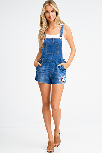 $15 - Cute cheap denim a line jumpsuit - Dark blue washed denim floral embroidered cutoff hem pocketed shorts overall