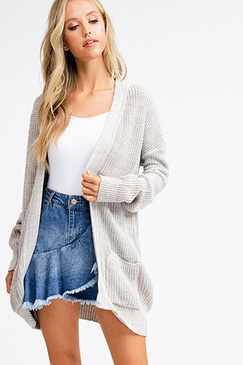 $15 - Cute cheap caged sexy club mini dress - Dark blue washed denim high waisted frayed hem tiered boho jean mini skirt